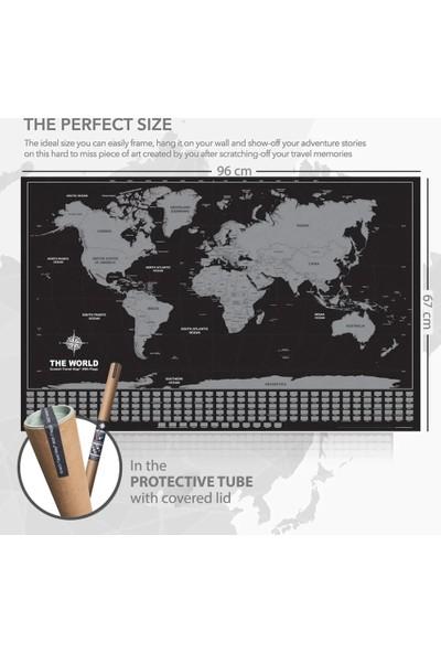 Atölye Depo Kazınabilir Ülke Bayraklı Dünya Haritası 96X67Cm Dev Boy