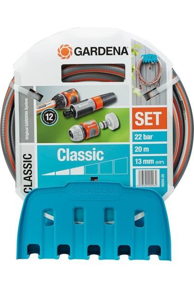 Gardena 18005-20 Su Hortumu Classic Set 20Mt Hortum Duvar Tutucu Aparat Ve Aksesuarlarla