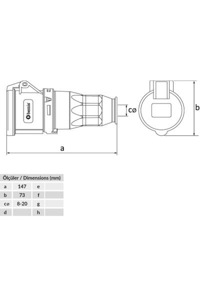 Bemis Bc1-1403-2312 Uzatma Dişi Priz 220V-250V / 16A / 2P+E