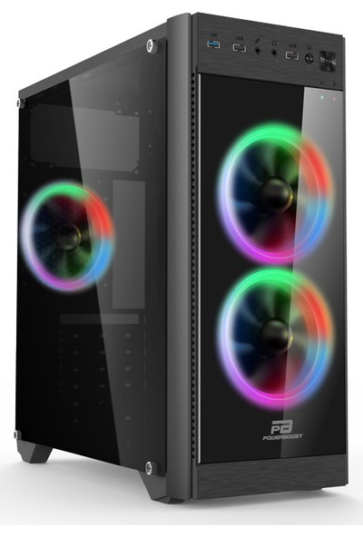 Power Boost VK-C013B 500W USB 3.0 ATX, Light 5 Color Fan, High Gloss Siyah Kasa (JBST-VKC013B)
