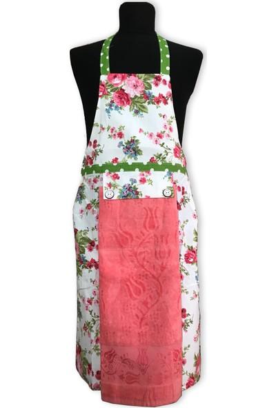 Gülcü Çiçek Desenli Havlulu Mutfak Önlüğü