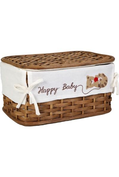 Kanca Ev Hasır, Mat Kahve Kapaklı Sepet, Happy Baby, Büyük
