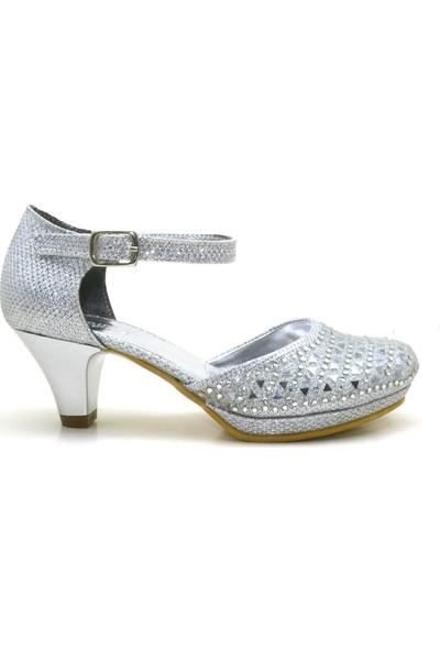 Sarıkaya Taşlı Gümüş Rengi Platform Topuklu Kız Çocuk Abiye Ayakkabı