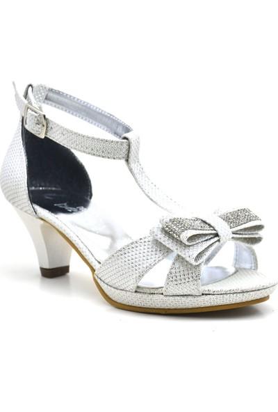 Sarıkaya Taşlı Sedefli Platform Topuklu Kız Çocuk Abiye Ayakkabı