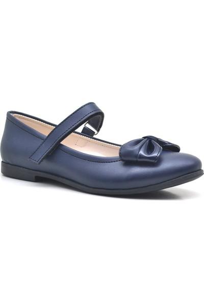 Kiddo Lacivert Cırt Cırtlı Kız Çocuk Babet-Okul Ayakkabısı