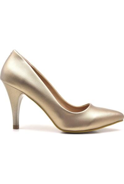 Ceylan Yeni Sezon Altın Rengi Sivri Burun Yüksek Topuk Stiletto