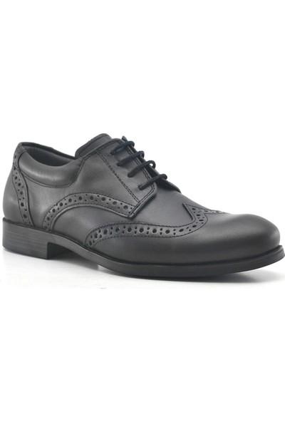 Raker Hakiki Deri Siyah Klasik Erkek Genç Ayakkabısı