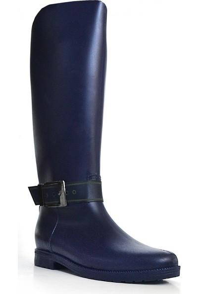 Ahs Collection Theg Lacivert Su Geçirmez Uzun Kadın Yağmur Çizmesi