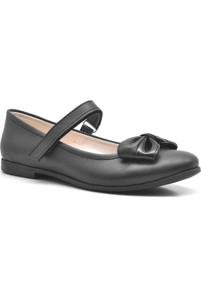 Kiddo Siyah Cırtlı Kız Çocuk Babet Okul Ayakkabısı