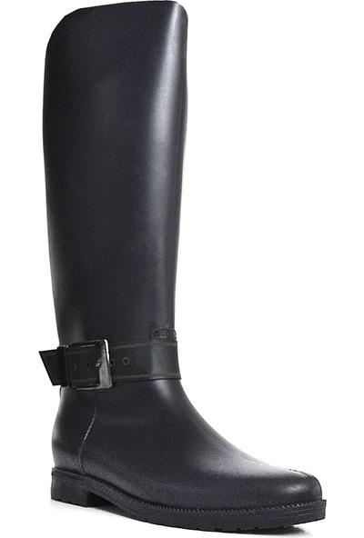 Ahs Collection Uzun Siyah Kadın Yağmur Çizmesi