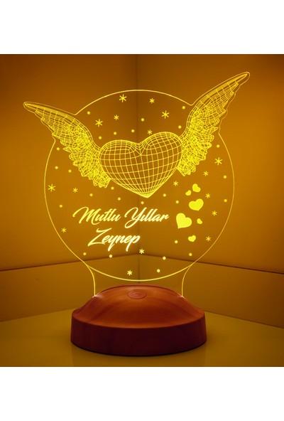 Sevgi Lambası Yeni Yıl Hediyesi Kişiye Özel Kanatlı Kalp Led Lamba