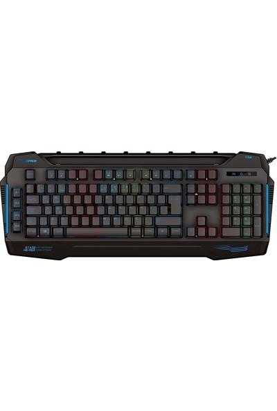 Rampage KB-R63 Stage Siyah USB 7 Renk Aydınlatmalı Q 4 Macro Fonksiyon 1*USB Hub Oyuncu Klavyesi