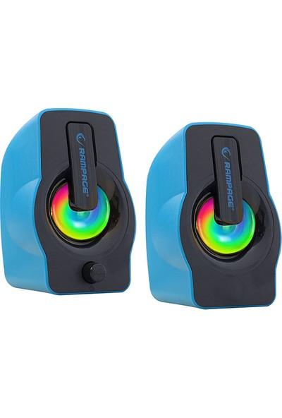 Rampage RMS-G7 Falsetto 2.0 6 Watt 50Hz-20KHz Mavi Multimedia 5V USB Speaker