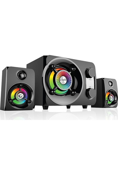 Rampage RMS-G8 2+1 25W Bluetooth +USB-SD-FM Rainbow Siyah Led Işıklı Oyuncu Ses Sistemi