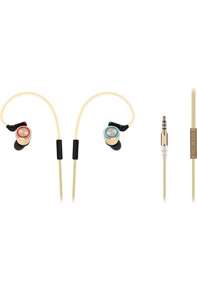 Snopy Rampage SN-J8 Elegant Mobil Telefon Uyumlu Metal Kulak içi Gold Mikrofonlu Kulaklık