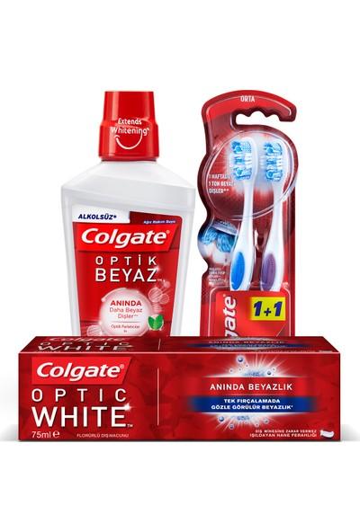 Colgate Optik Beyaz Anında Beyazlık Beyazlatıcı Ağız Bakım Seti (Diş Macunu 75 ml + Alkolsüz Gargara 500 ml + Diş Fırçası Orta)