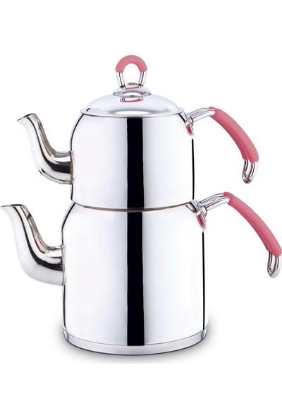 Nice Çaydanlık Takımı Aile Boy Silikon Sap - Pembe
