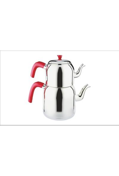 Nice Çaydanlık Takımı Aile Boy Bakalit Sap - Kırmızı