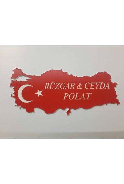 Kapı İsimliği Lazer İşleme Türkiye Haritası Şeklinde