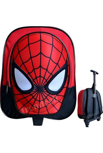 Spiderman Anaokulu Çantası Örümcek Adam Çekçekli Tekerlekli 2İn1 Anaokulu Çanta