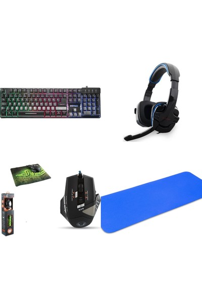 Everest Rampage Tk-Xr9 Pro Makrolu Gaming Oyuncu Seti+ Mouse Pad