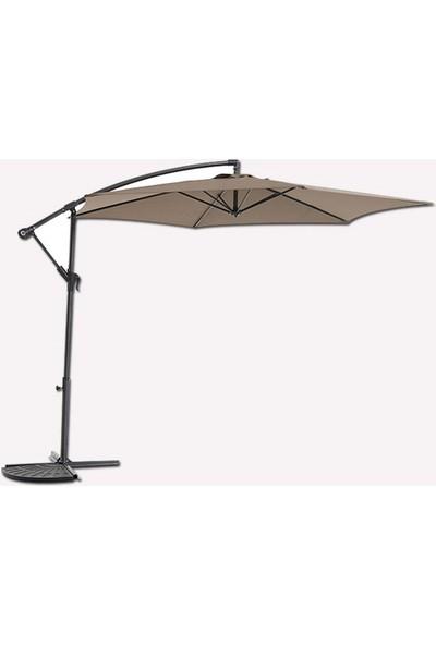 Bidesenal Ampul Şemsiye Bahçe Balkon Teras Şemsiyesi Makaralı Şemsiye Kahverengi Renk