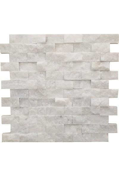 Markataş 2,5x5cm Simli Beyaz Mermer Patlatma Mozaik