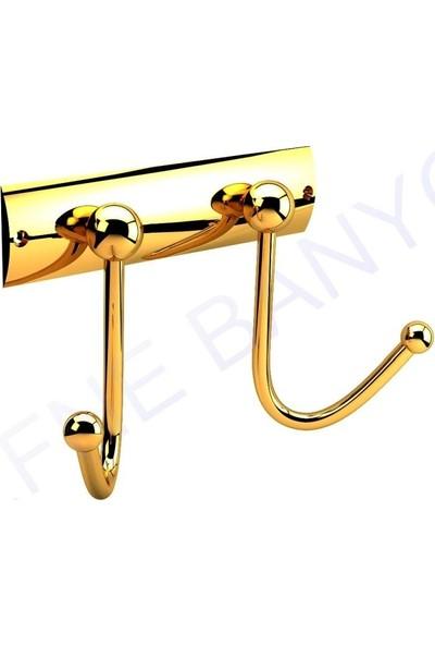 Defne Banyo Lale İkili Havluluk-Askılık Altın