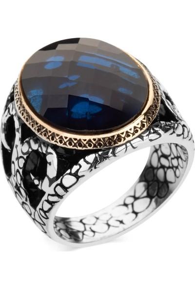 Anı Yüzük Mavi Zirkon Taşlı Gümüş Erkek Yüzüğü