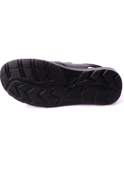 İmperial Siyah %100 Hakiki Deri Sandalet Terlik