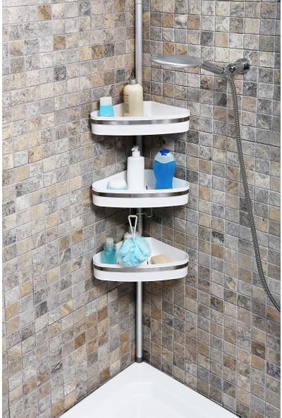Primanova N39 Fina Yaylı Montaj Banyo Köşe Rafı Beyaz