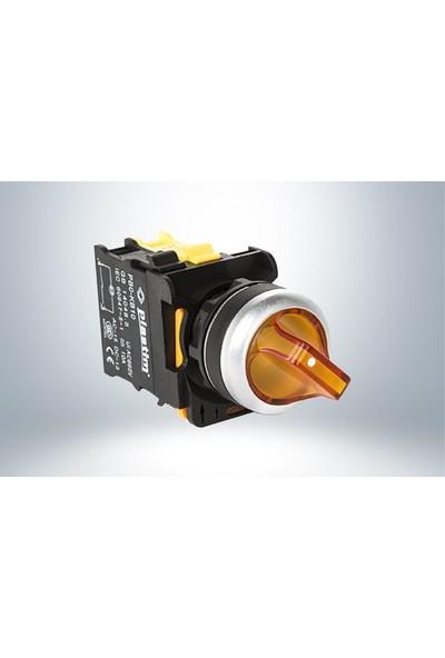 Plastim Işık Mandal Buton 1-0-2 Sarı Led 24V