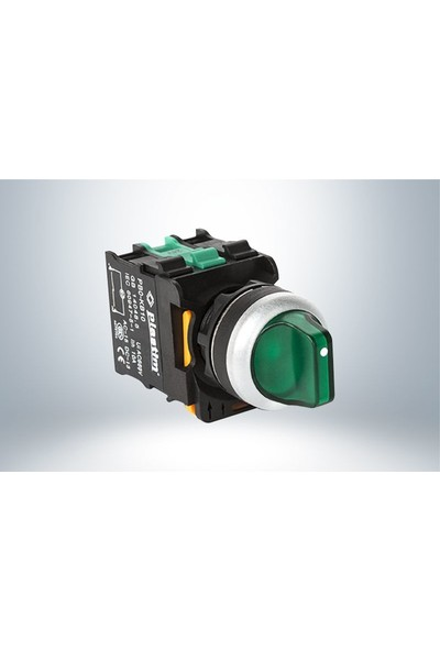 Plastim Işık Mandal Buton 1-0-2 Yeşil Led 220V