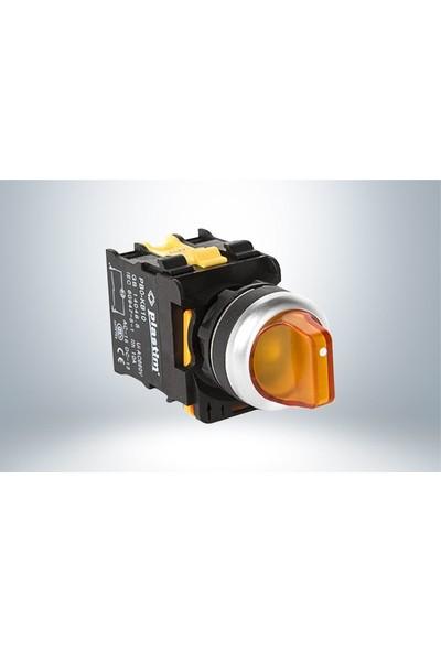 Plastim Işık Mandal Buton 0-1 Sarı Led 220V