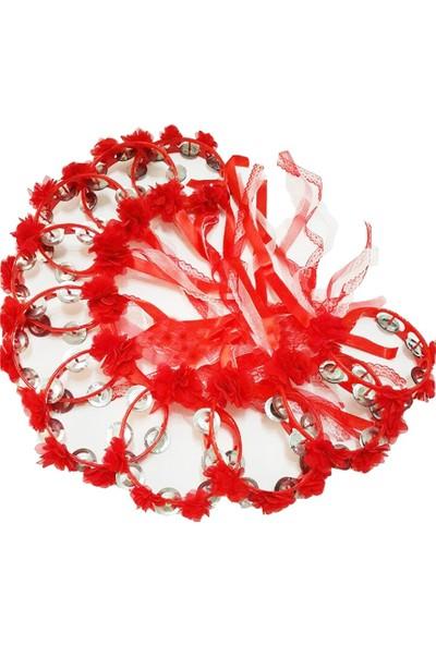 Kervan Kına Kurdelalı ve Lazer Çiçeklerle Süslenmiş 10 Adet Tef