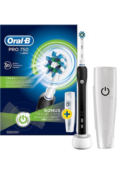 Oral-B Pro 750 Siyah Şarj Edilebilir Seyahat Kabı Hediyeli Diş Fırçası