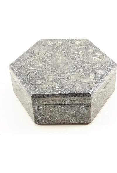 Nill Dünyası El Yapımı Tasarım Dekoratif Gümüş Görünümlü Ahşap Kutu