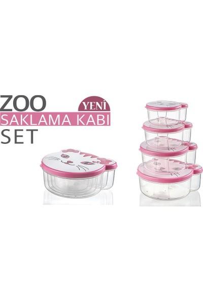 Zoo Hayvan Figürlü Saklama Kabı 4 Lü Set