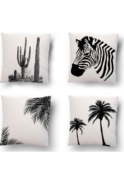 Tezkotekstil Zebra Desen 4'Lü Kombin Dekoratif Yastık Kırlent Kılıfı