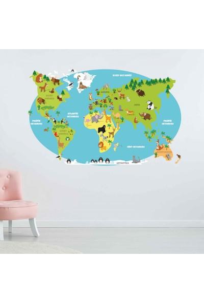 Yapıştırrco Hayvanlı Dünya Haritası Duvar Stickerı
