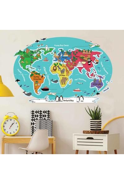 Yapıştırrco Hayvan ve Şehirler Dünya Haritası Duvar Stickerı