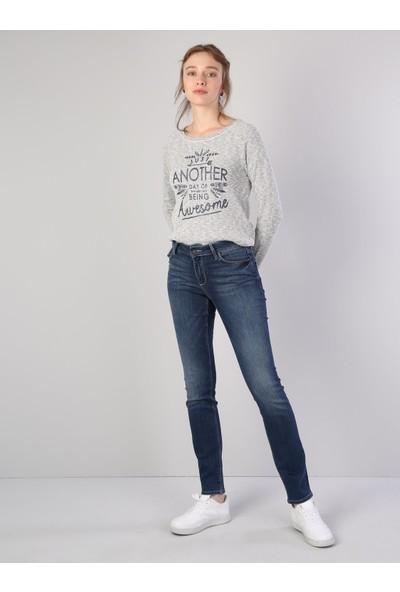 Colins 703 CARLA Orta Bel Düz Paça Slim Fit Mavi Kadın Jean Pantolon