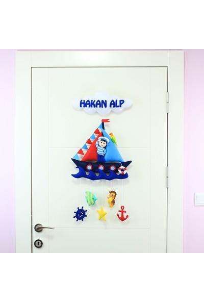 Renkli Hayallerim Denizci Çocuk Erkek Bebek Kapı Süsü