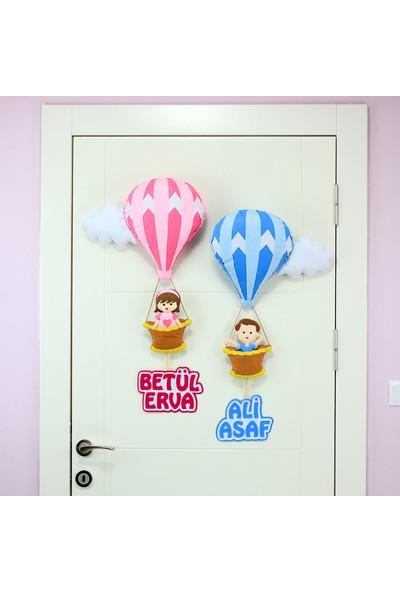 Renkli Hayallerim Kardeşler İçin Balonlu Çocuk Kapı Süsü