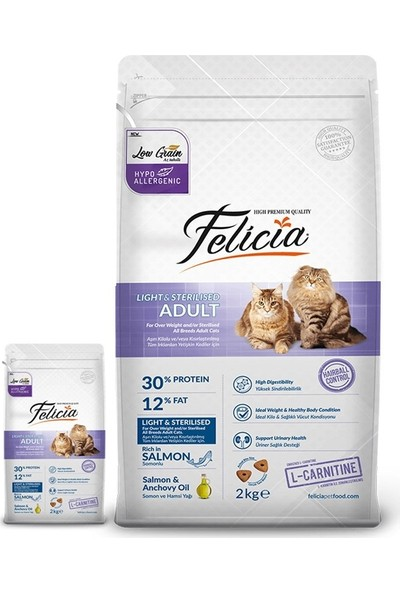 Felicia 12 kg Somonlu Kısırlaştırılmış Kedi Maması + 2 Kg Hediyeli