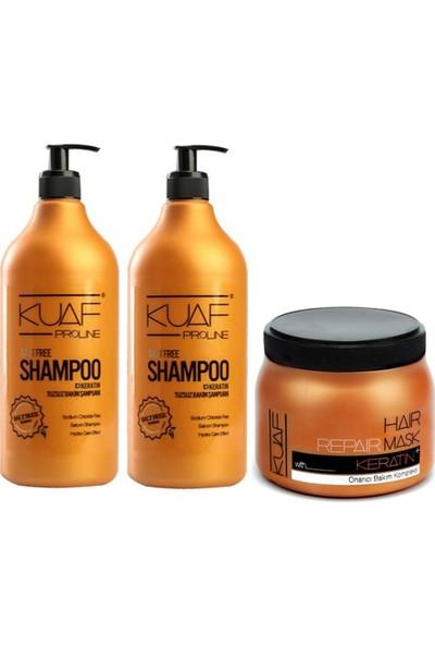 Kuaf Tuz İçermeyen Şampuan 1000 ml 2 Adet + Kuaf Keratin Saç Maskesi 500 ml