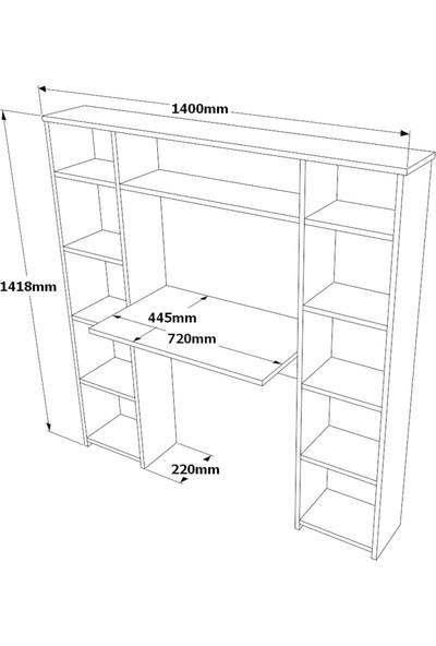 Yurudesign Box2 Çalışma Masası Kitaplık Raf Atlantik Çam EC6-A