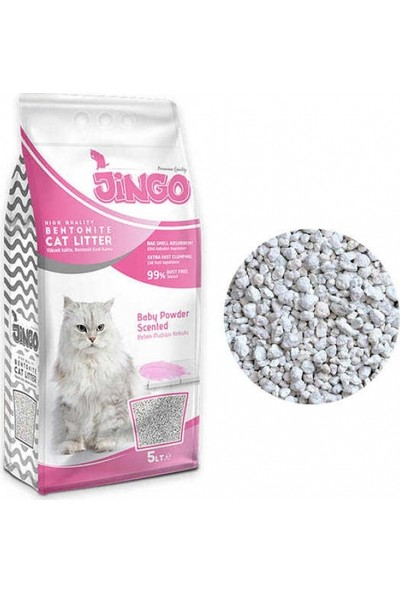 Jingo Bentonit Kedi Kumu Bebek Pudra Kokulu Kalın Taneli 5L