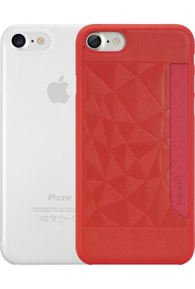 Ozaki O!coat Jelly + Pocket Ultra İnce Silikon Kılıf + Kart Yuvalı Sert Arka Kapak Apple iPhone 7-8 Silikon Kılıf Kırmızı