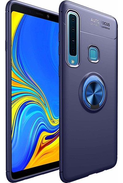 Case 4U Samsung Galaxy A9 2018 Kılıf Yüzüklü Darbeye Dayanıklı Arka Kapak - Ravel - Lacivert